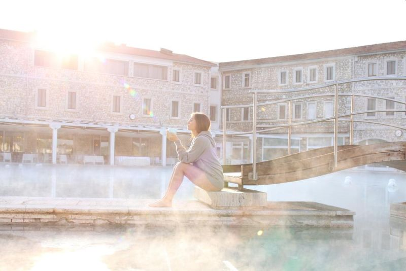 Terme di Saturnia Spa & Golf Resort.This resort features an 18-hole golf course and is 1.2 mi from the medieval village of Saturnia, in the Tuscan Maremma. Built in Travertine marble, its elegant thermal spa features Roman baths and natural swimming pools.